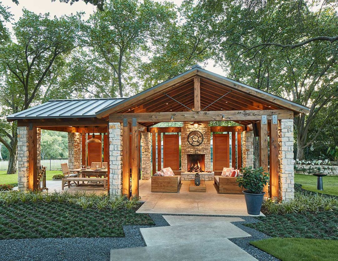 Transitional Outdoor Living Pavilion in North Dallas, TX